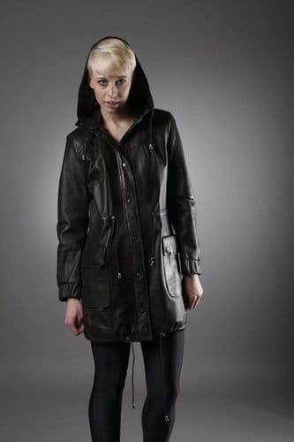 Womens Leather Coat in Brown